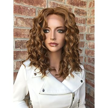 """Honey Blonde Wavy Human Hair Blend Multi Parting Lace Front Wig 12"""" - Marilyn"""