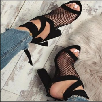 Hot style sexy strappy mesh sandals with high heels and chunky heels