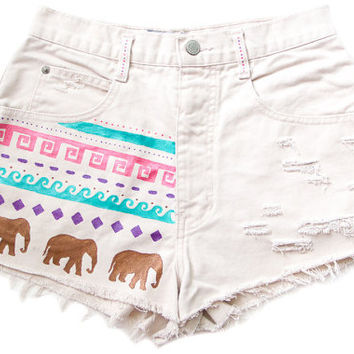 Tribal Aztec Elephant Waves Shorts Hand Painted Vintage Distressed High Waisted Denim Cut Offs  Boho Hipster W28