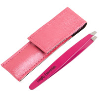 Tweezers Stainless Steel Slant Pink with Case