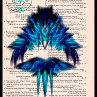 Dark Blue Fractal/Apopthysis Art Brilliant Black Glow Vintage Dictionary Page Art Print Upcycled,Abstract Art Print
