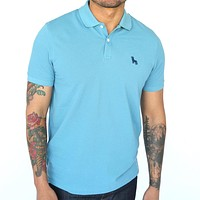 Turkish Blue Cotton Pique Polo Size XL Available