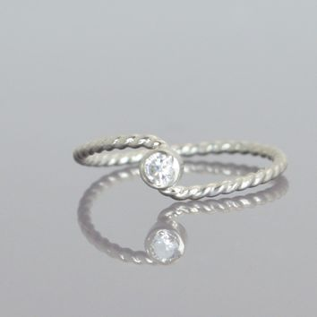 Diamond Silver Wave Ring