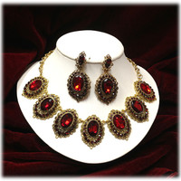 Wedding jewelry , bridal crystal jewelry, Vintage inspired necklace earrings, Ruby Red jewely, Golden jewelry, bridesmaid jewelry