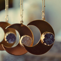 MOONBEAM LEGEND /// Handcrafted Druzy Necklace /// 24kt Gold Plate /// Moon Necklace