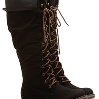 Black Faux Leather Calf Length Mountain Boots @ Cicihot Boots Catalog:women's winter boots,leather thigh high boots,black platform knee high boots,over the knee boots,Go Go boots,cowgirl boots,gladiator boots,womens dress boots,skirt boots.
