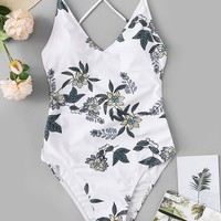 Random Floral Criss Cross Backless One Piece Swimsuit