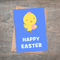 """Happy Easter - Printable Greeting Card, Instant Download, 5x7"""", Cute Easter Gift, Yellow Chicken, Blue Background, Easter Animals, Kawaii"""
