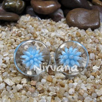 """Sea Anemone Plugs Pyrex Glass One Pair - 00g 7/16"""" 1/2"""" 9/16"""" 5/8"""" 3/4"""" 1"""" 9.5 mm 10 mm 12 mm 14 mm 16 mm 18 mm 20 mm 25 mm"""