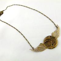 Brass Flying Time Steampunk Necklace by angelyques on Etsy