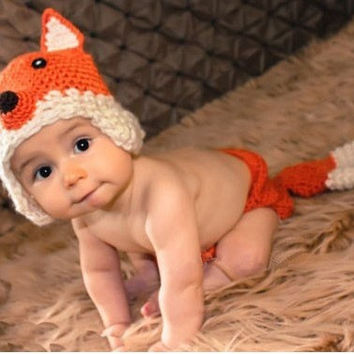 New babies  fox modelling   manual cap&pants  lovely  photography clothing (Color: Orange) = 1705294596