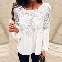 Women's Fashion Hot Sale Summer Hollow Out Lace Round-neck Long Sleeve T-shirts [10357222605]