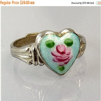 Art Deco Sterling Silver Guilloche Enamel Heart Ring Adjustable Band