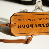 This bag belongs at Hogwarts leather tag Harry by MesaDreams