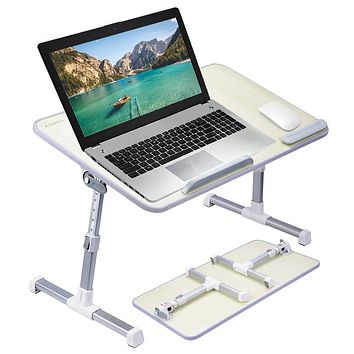 [Large Size] Neetto TB101L Adjustable Laptop Bed Table, Portable Standing Desk, Foldable Sofa Breakfast Tray, Notebook Stand Reading Holder for Couch Floor Kids - Honeydew Large Size
