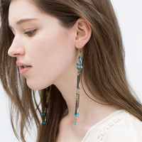 Colored chain and thread earrings