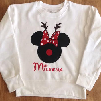 Free/Fast  Shipping in US Mickey/Minnie Christmas Reindeer Sweatshirt