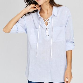 Blue Striped Lace Up Shirt