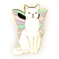 Catterfly Cat Butterfly Enamel Pin in Pastel