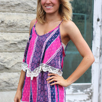 Martha's Vineyard Patchwork Romper {Pink}