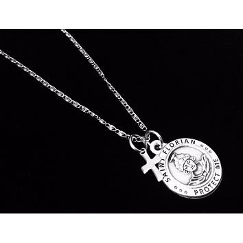 Saint Florian Silver Necklace Protect Me Firefighter Catholic Medal Trendy Inspirational Saint Necklace for Men
