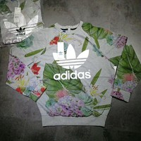 adidas Originals Adicolour Crew Neck Sweatshirt With Trefoil Logo In Botanical Floral