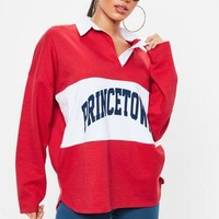 Missguided - Red Oversized Princetown Rugby Top