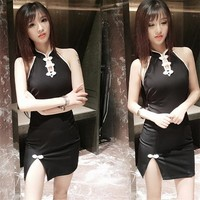 summer sexy Dress Women fashion Tokyo backless cheongsam slim black dresses for cool young girls party club Japanese Korea style