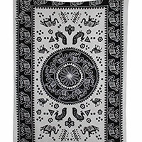 "Amitus Exports ® 1 X Camel Elephant Peacock 80""x54"" Approx. Inches Black & White Color Twin Size Cotton Fabric Multi-Purpose Handmade Tapestry Hippy Indian Mandala Throws Bohemian Tapestries"