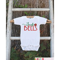 Kids Christmas Outfit - Jingle Bells Christmas Onepiece - Kids Christmas Shirt for Baby Boy or Baby Girl - Red and Green Christmas Outfit