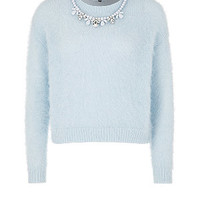 Pale Blue Necklace Trim Fluffy Jumper