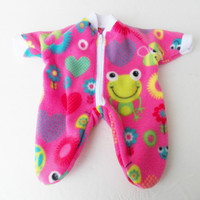 """Bitty Baby Clothes handmade for the 15"""" Girl or baby doll Heart valentines day pink polar fleece pajamas pjs sleeper butterfly flower frog"""