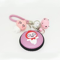 Cartoon Doll Keychain Mini Coin Purse Car Pendant Handbag Keychain Gift (Pink)