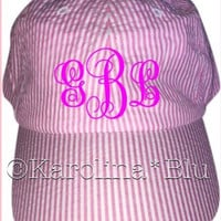 Womens Monogrammed Pink seersucker hat with bow in the back.