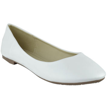 Womens Ballet Flats Pu Leather Basic Slip On Comfort Shoes White