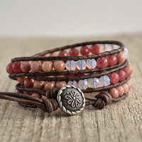 Pink shades multicolor bohemian chic triple wrap beaded leather bracelet