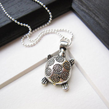 Cute Turtle Pendant Neckalce - Perfect holiday gift for beach lovers, sisters BFFs - FREE SHIPPING