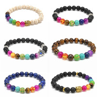 2016 New 6 Colors Mens Womens Bangle 7 Chakra Bracelets Healing Crystals Stone Chakra Pray Mala Bracelet Jewelry Bijoux t656