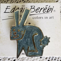 Signed Vintage Edgar Berebi RABBIT Brooch, Enamel on Silver plate Freaky Bunny Rabbit Unisex Lapel Pin, 1980s Colors In Art series