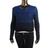 Freshman Womens Juniors Knit Cropped Pullover Sweater
