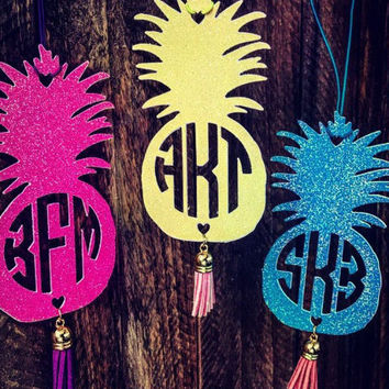Rear View Mirror, Monogram, Car, Accessorie,Pineapple,Personalized, Charm ,Monogrammed with Tassel