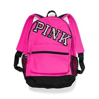 VICTORIA'S SECRET PINK Campus Backpack - Neon Hot PINK W/Bling