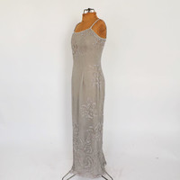 Vintage 90s does 1930's Silver Gray Beaded Dress Adrianna Papell Maxi Gown Victorian Edwardian Art Deco 40's Sheath Dress Great Gatsby