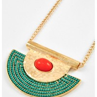 428042 Gold Tone / Turquoise & Coral Acrylic / Lead&nickel Compliant / Pendant / Long Necklace