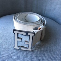 """FENDI WINTER WHITE LEATHER BELT WITH FF SIGNATURE BUCKLE MADE IN ITALY 43"""""""