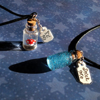Alice in Wonderland - Eat Me and Drink Me Friendship Necklace Set