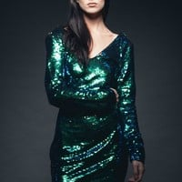 Mermaid for Life Blue and Green Colored Sequin Dress
