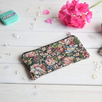 Floral pencil case, Pencil Pouch, Cosmetic pouch, Make Up Pouch, Charger bag, Project bag, Travel bag, Bridesmaid gift, Bridal purse