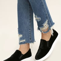 Steve Madden Ecntrcv Black Velvet Slip-On Sneakers