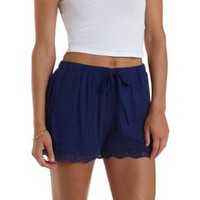 Navy Lace-Trim High-Waisted Shorts by Charlotte Russe